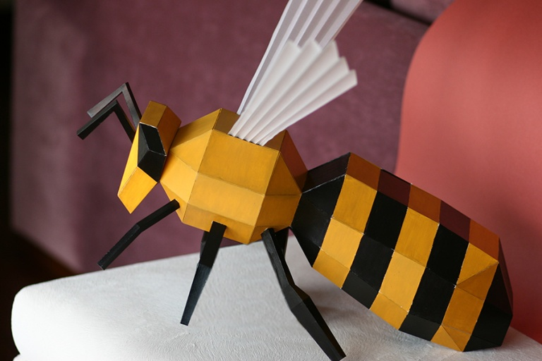 The Brief Was To Create A Paper Honey Bee Inspired By Metamorphosis Theme Of Hermes Fashion Brand Which Installed At Store In Istanbul Ataturk